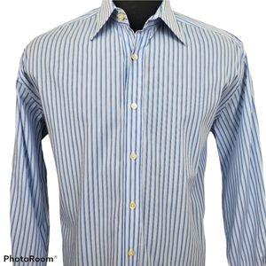 Dolce & Gabbana Blue Striped Dress Shirt Size 17